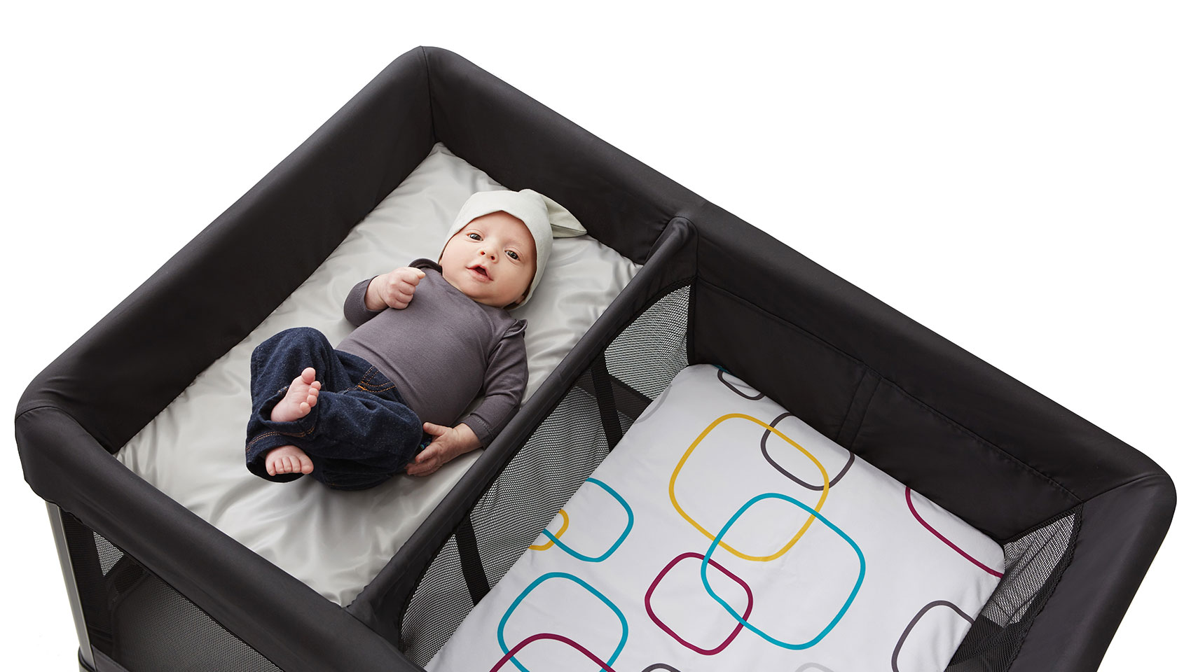Cute baby in Breezeplus changer by 4moms