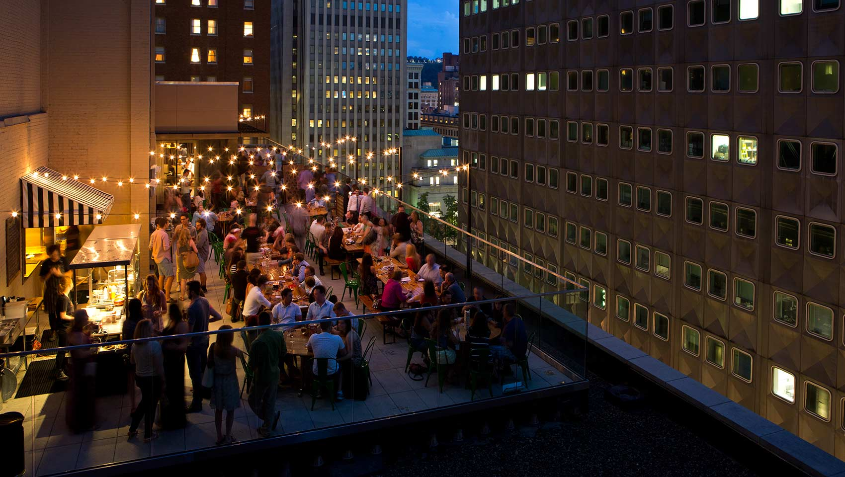 biergarten rooftop at night