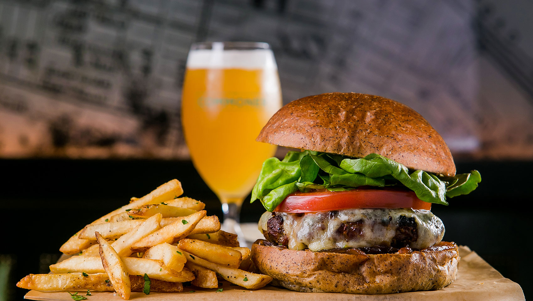 Burger, Fries, Beer